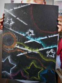 コンテパステルによるステンシルアート