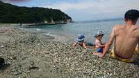 無人島で今年初の海水浴