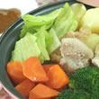 しょうゆ風ソースだれで食べる蒸し豚肉と蒸し野菜