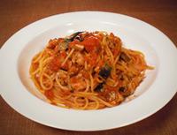 秋刀魚のトマトスパゲッティ