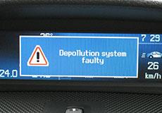 Depollution system faulty 排ガス装置の異常というような意味