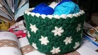 リフ編みの小物入れ