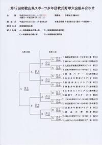 第47回和歌山県スポーツ少年団軟式野球大会組み合わせ