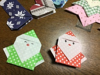 折り紙サンタ。