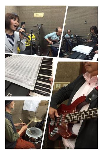 生バンドで。