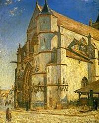 朝の日差しを浴びるモレの教会
