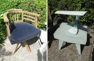 回転椅子・電気スタンド・木製小テーブル?