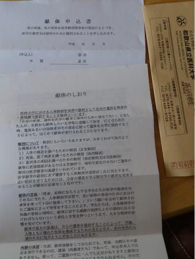 献体の書類